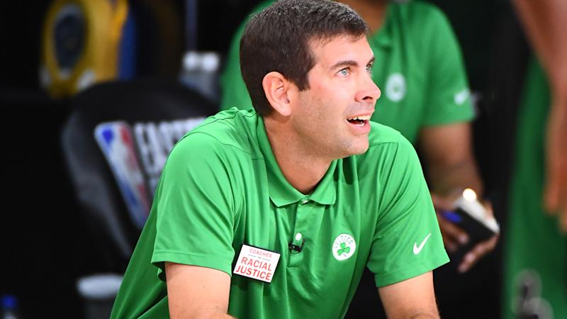Boston Celtics coach Brad Stevens is pictured during game two of the NBA Eastern Conference Finals.
