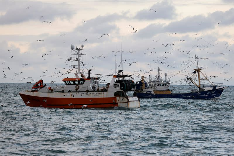 FILE PHOTO: On board the French fishing vessel Nicolas Jeremy in the North Sea