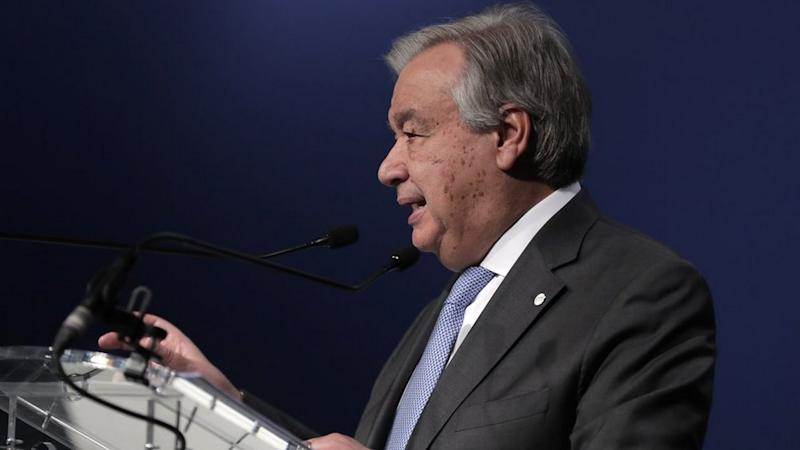 UN Sec-Gen Antonio Guterres talks at COP25, in Madrid. Image credit: AP