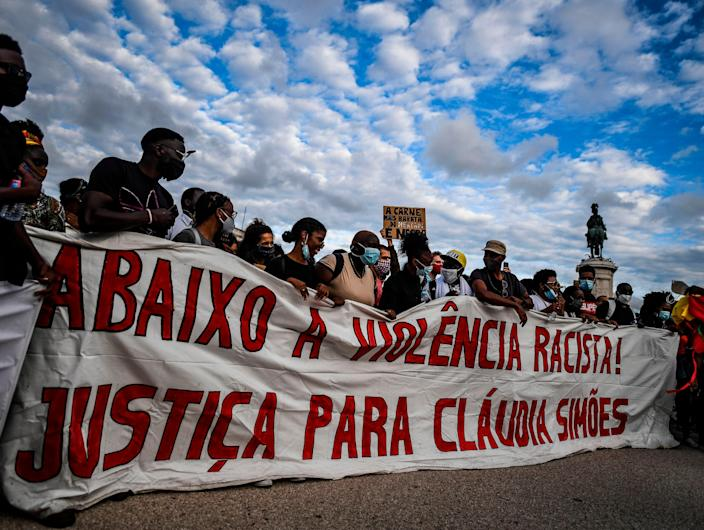 Protesters demonstrated against racism and fascism in Portugal earlier this year amid fears over the country's far-right (AFP via Getty Images)