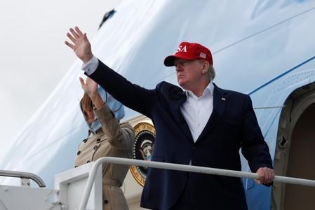 U.S. President Donald Trump and first lady Melania Trump board Air Force One as they depart Shannon international airport en route to Washington, in Shannon, Ireland