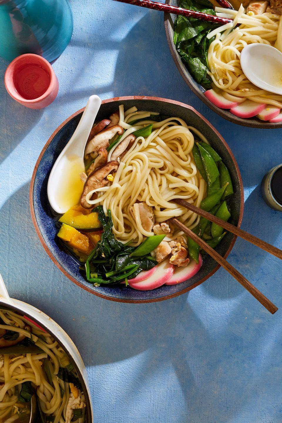 """<p>We love dishes high in flavor, low in commitment. And if it comes together in one pot? All in! Nabeyaki udon is a one-pot Japanese noodle soup that is just this.</p><p>Get the recipe from <a href=""""https://www.delish.com/cooking/recipe-ideas/a35047520/nabeyaki-udon-recipe/"""" rel=""""nofollow noopener"""" target=""""_blank"""" data-ylk=""""slk:Delish"""" class=""""link rapid-noclick-resp"""">Delish</a>.</p>"""