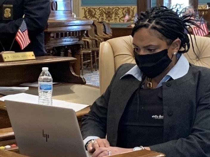 Senator Dayna Polehanki shared on Thursday some colleagues, like Senator Sylvia Santana (pictured), are wearing bulletproof vests to work as armed protesters storm the Michigan State Capitol: Senator Dayna Polehanki