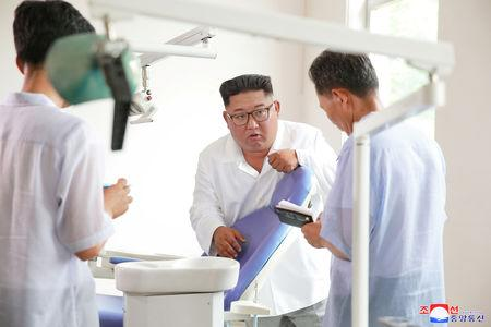 North Korean leader Kim Jong Un inspected the Myohyangsan Medical Appliances Factory in this undated photo released by North Korea's Korean Central News Agency (KCNA) on August 21, 2018.     KCNA via REUTERS