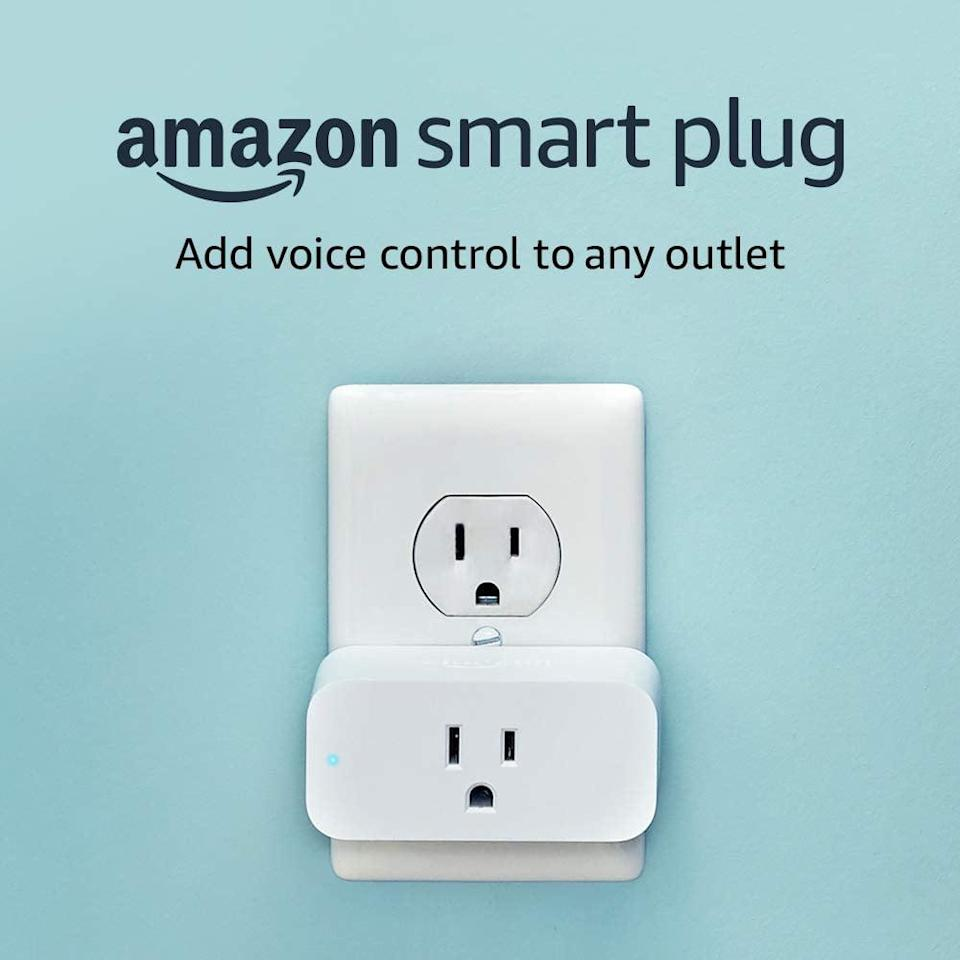 <p>This <span>Amazon Smart Plug</span> ($25) is truly genius. You can set it up using Alexa and timer your lights to go on and off at a certain time. You can also turn lights on and off while you're away.</p>