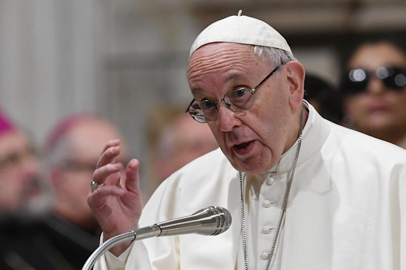 """Pope Francis speaksout against """"fear"""" in politics during Sunday's event."""