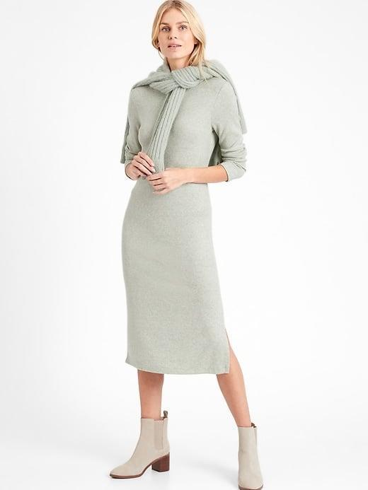 """<p>We can see this <span>Banana Republic Ribbed-Knit Dress with Side Slit</span> ($90) being worn in any season but love <a href=""""https://www.popsugar.com/fashion/color-trends-spring-2021-47822844"""" class=""""link rapid-noclick-resp"""" rel=""""nofollow noopener"""" target=""""_blank"""" data-ylk=""""slk:this popular 2021 shade"""">this popular 2021 shade</a>. </p>"""