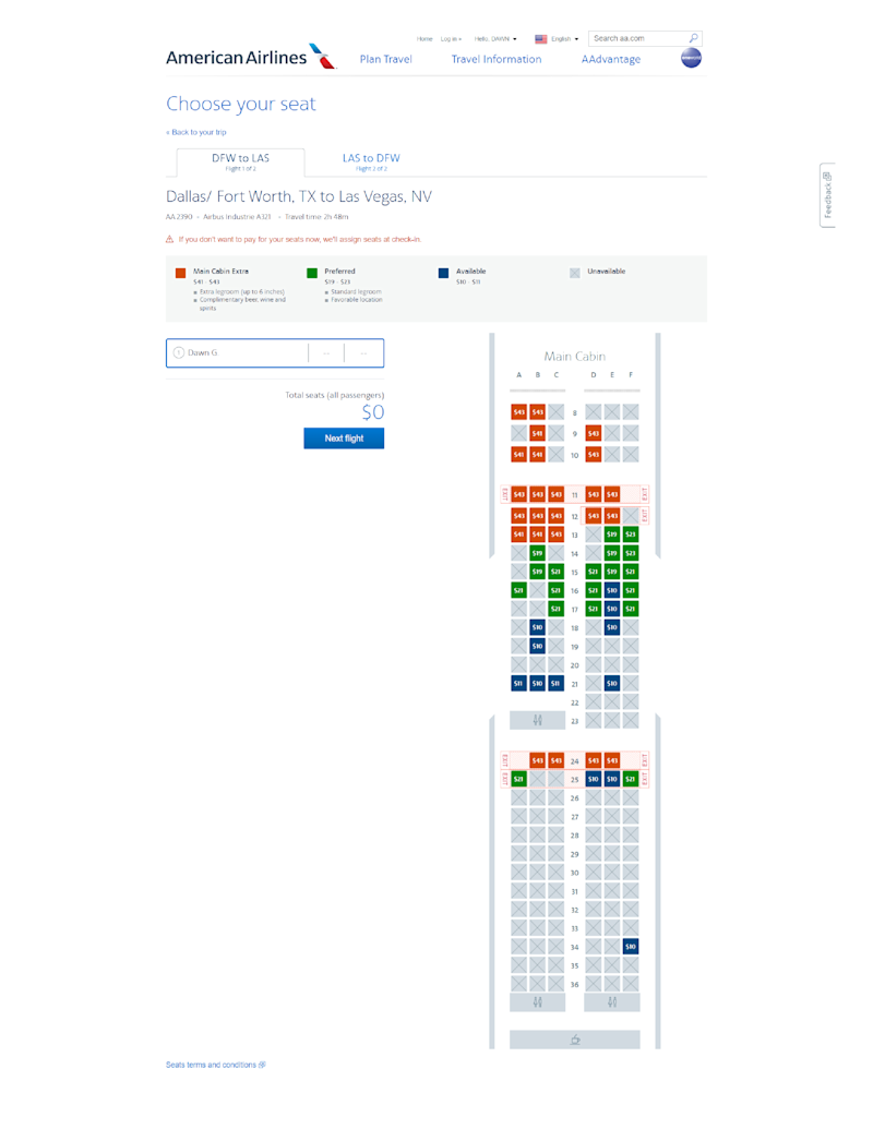 American Airlines passengers with no frills basic economy tickets can now select a seat, for a fee, a week before their flight. The window used to be 48 hours.
