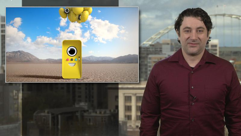 Give the vending machine a hug after buying Snaps's Spectacle video glasses