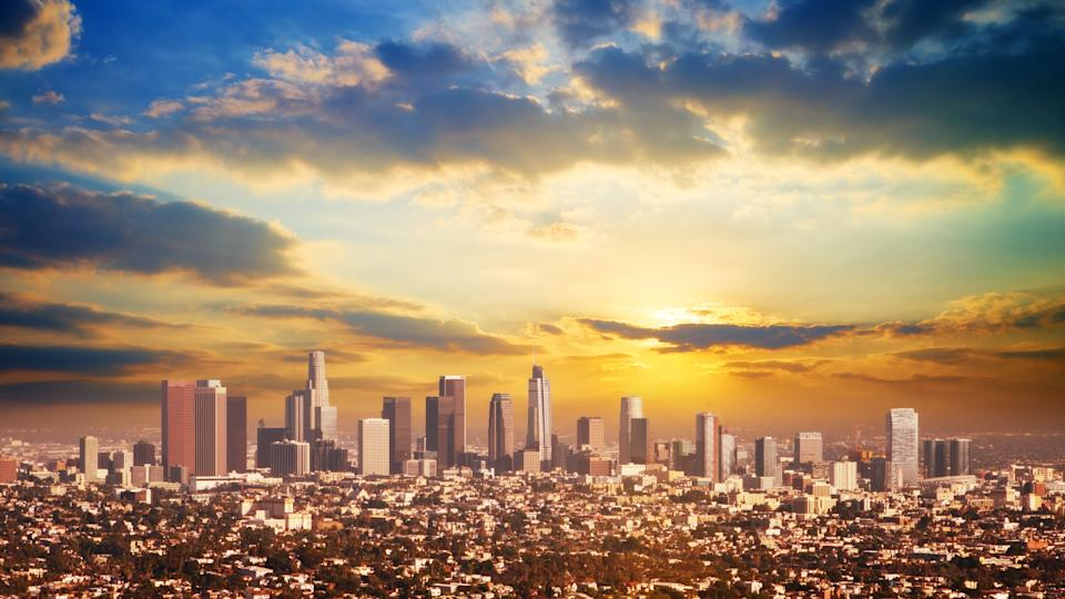 A view of the Los Angeles downtown skyline.