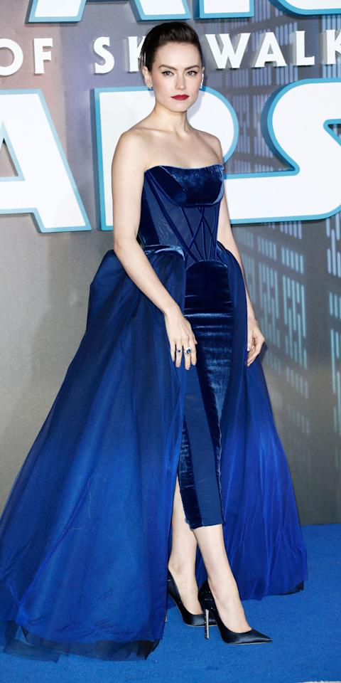 <p>The <em>Star Wars: The Rise of Skywalker </em>actress looked regal at the movie's London premiere, wearing a velvet Vivienne Westwood Couture gown with Beladora jewelry.</p>