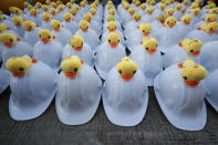 Rows of hard hats designed with yellow ducks, which have become good-humored symbols of resistance during anti-government rallies, are prepared for protest security staff Wednesday, Nov. 25, 2020, in Bangkok Thailand. Thai authorities have escalated their legal battle against the students leading pro-democracy protests, charging 12 of them with violating a harsh law against defaming the monarchy. (AP Photo/Sakchai Lalit)