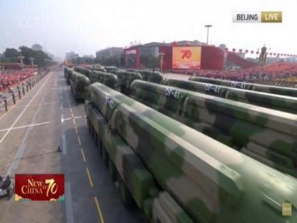 Image OF DF-5 ICBM from October 1 military parade at Tiananmen Square at the 70th anniversary of the People's Republic of China founding.