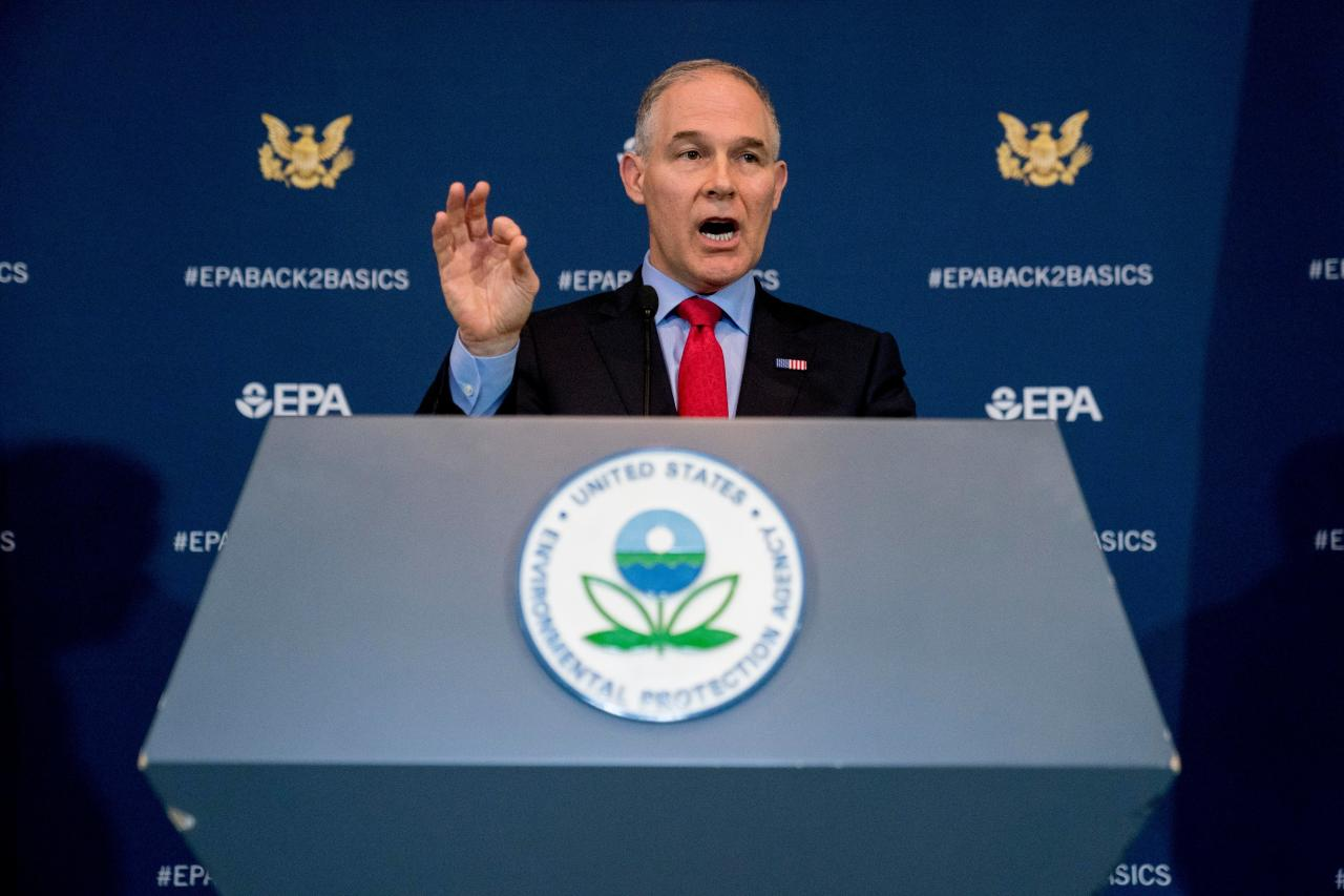 FILE - In this April 3, 2018, file photo, Environmental Protection Agency Administrator Scott Pruitt speaks at a news conference at the EPA in Washington. New internal documents say a sweep for hidden listening devices in Pruitt's office was shoddy and wasn't properly certified under U.S. government practices (AP Photo/Andrew Harnik, File)
