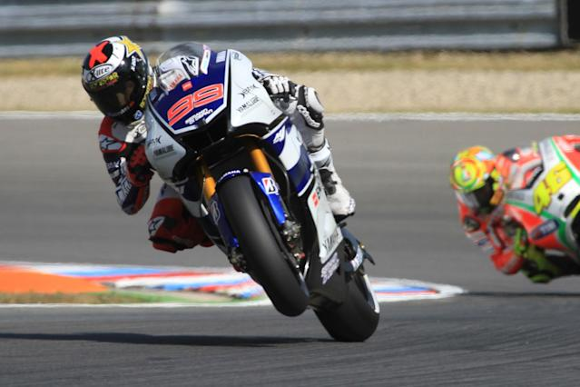 Moto GP rider Jorge Lorenzoi of Spain takes part in a free practice session at the Czech Republic Grand Prix on August 24, 2012 in Brno ahead of the Grand prix event on August 26. Vioales won the practice session. AFP PHOTO / RADEK MICARADEK MICA/AFP/GettyImages