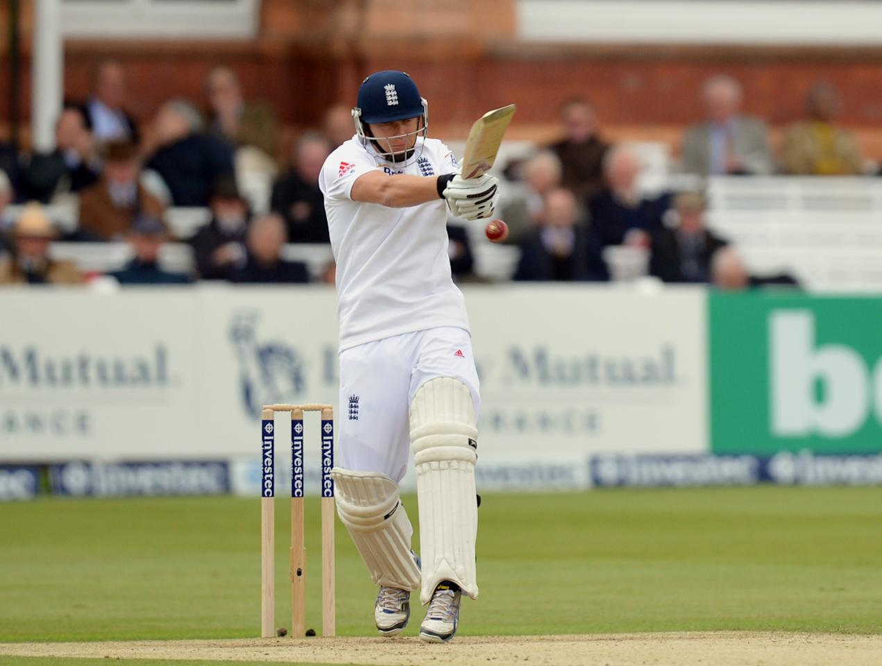 England's Johnny Bairstow bats during the first test at Lord's Cricket Ground, London.