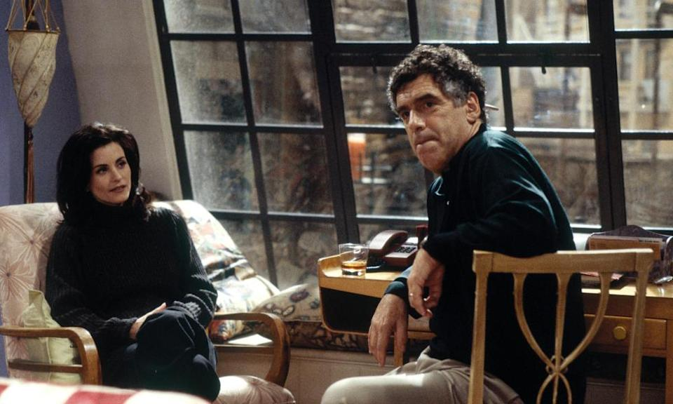 Courteney Cox as Monica and Elliott Gould as her father, Jack