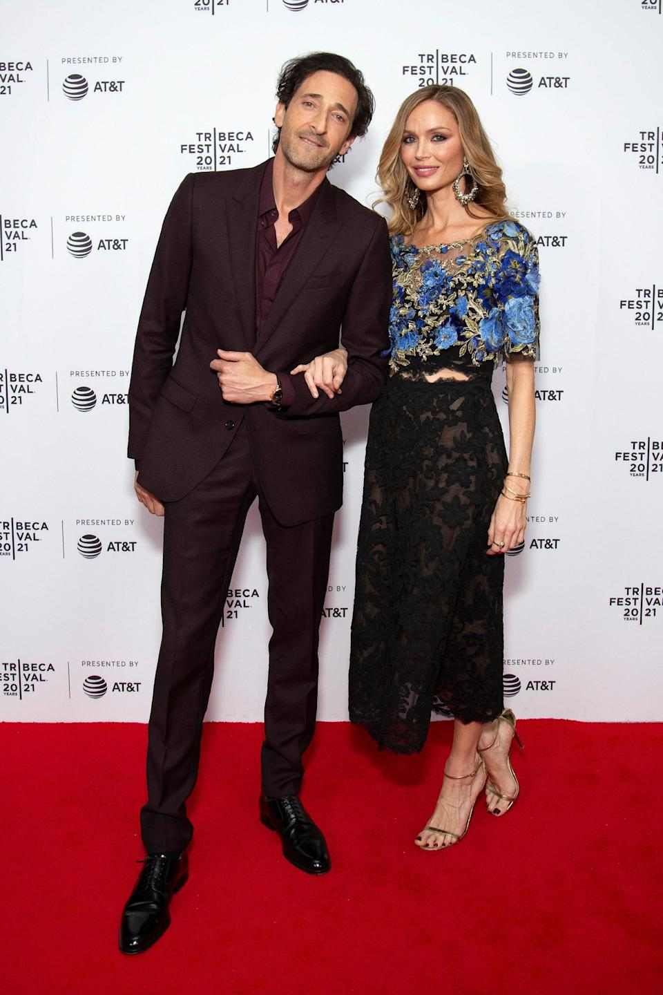 Adrien Brody and Georgina Chapman made their red carpet couple debut at the Tribeca Film Festival Saturday.