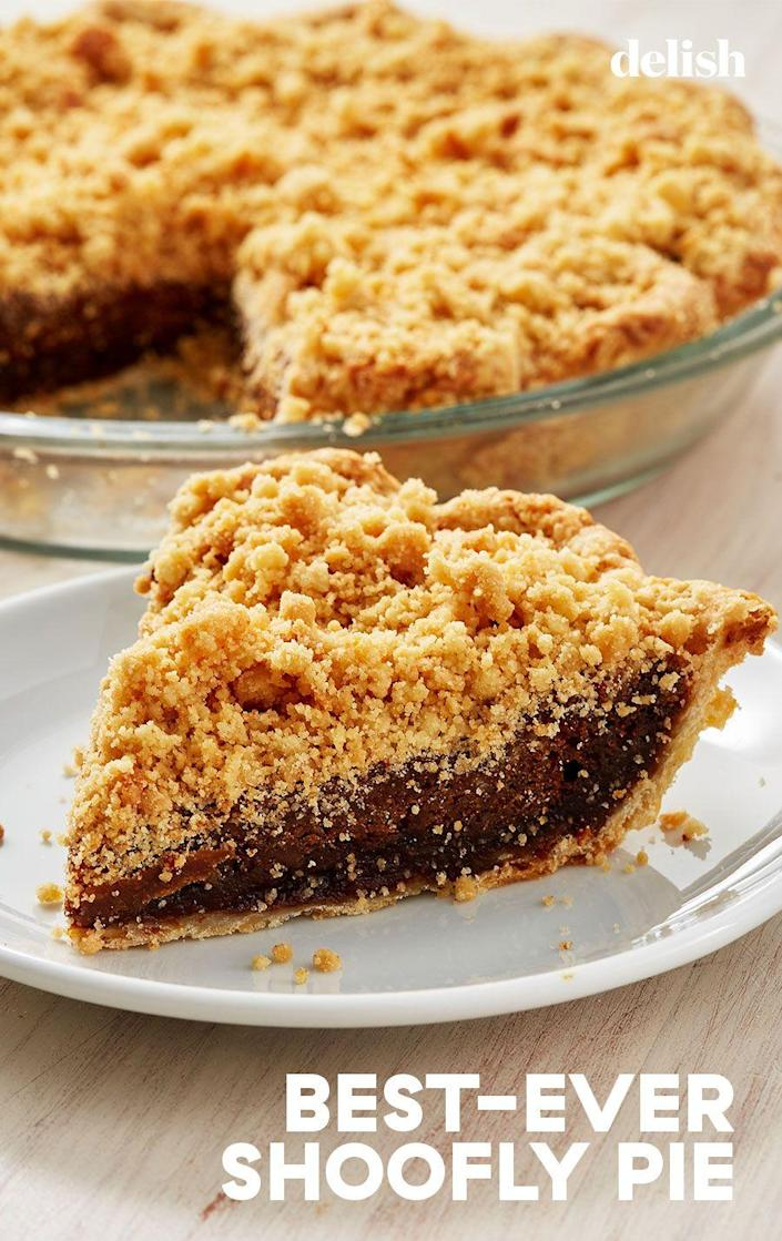 """<p>Dark and rich and full of spice. It's the best there is. </p><p>Get the recipe from <a href=""""https://www.delish.com/cooking/recipe-ideas/a28903649/classic-shoofly-pie-recipe/"""" rel=""""nofollow noopener"""" target=""""_blank"""" data-ylk=""""slk:Delish"""" class=""""link rapid-noclick-resp"""">Delish</a>. </p>"""