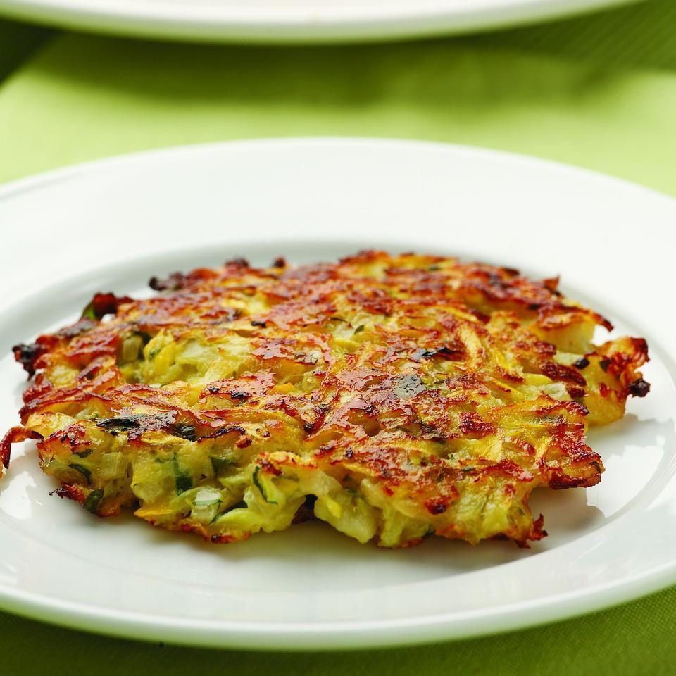 <p>In this recipe we shred summer squash and use it like shredded potatoes to make tasty little pancakes flavored with Parmesan cheese and shallots.</p>