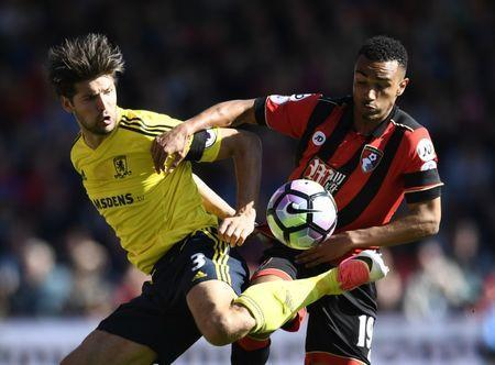 Britain Soccer Football - AFC Bournemouth v Middlesbrough - Premier League - Vitality Stadium - 22/4/17 Bournemouth's Junior Stanislas in action with Middlesbrough's George Friend Reuters / Dylan Martinez Livepic