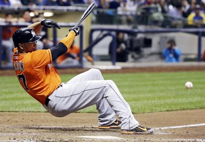 Giancarlo Stanton suffered a serious injury on Sept. 11 that ended his season. (AP)