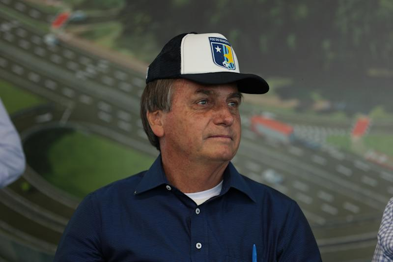 FOZ DO IGUACU, BRAZIL - AUGUST 27: Jair Bolsonaro, President of Brazil looks on during the inauguration ceremony of the BR-469 highway development on August 27, 2020 in Foz do Iguacu, Brazil. The BR-469, known as 'Rodovia das Cataratas', is the only link between the Foz do Iguacu City Center, the International Airport and the Iguacu National Park. The development will duplicate the highway that is almost nine kilometers long, and so far there is no information on the work schedule and the expected delivery. (Photo by Kiko Sierich/Getty Images)