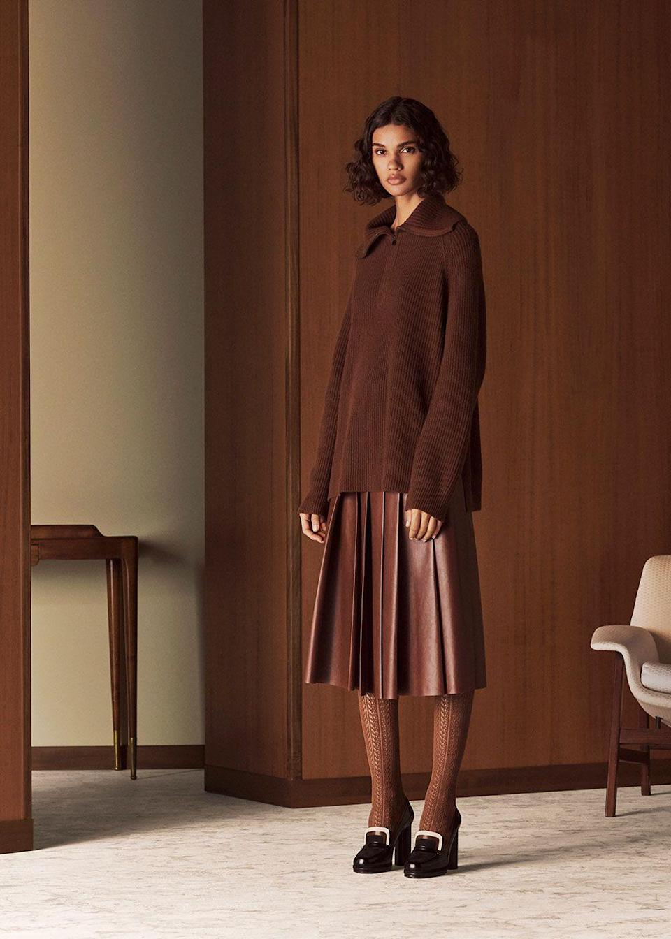 """<p>Luxurious ease is what so many of us are naturally gravitating toward now, and it's a banner thing for Loro Piano: Luxe simplicity is its signature stock-in-trade. The silhouette for fall is all about long, lean lines: wide-legged pants that drop to the floor and monochromatic sets that utilize color as the ultimate lengthener. The collection found its inspiration in Milan, its """"way of dressing and behaving,"""" and the effortless, utterly mixable pieces certainly speak volumes about the person wearing them without ever needing to do more than whisper. That said, the label achieves its aim of wanting the wearer to shine through—these are not clothes that overwhelm or steal the spotlight—yet there's no denying that the combination of palette, fabric, and silhouette all make for an undeniable message.<em>—Leah Melby Clinton</em></p>"""