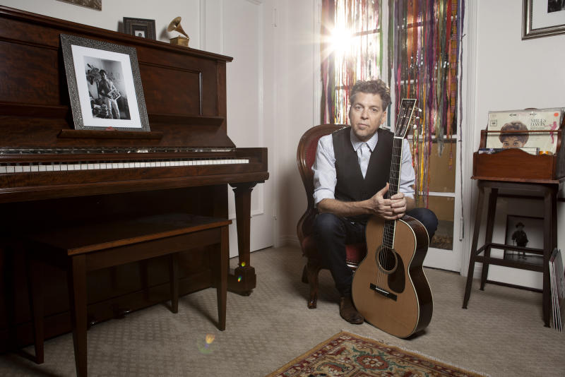"""This Nov. 8, 2019 photo shows musician Joe Henry posing for a portrait at his home in Pasadena, Calif. to promote his new album """"The Gospel According To Water."""" (Photo by Rebecca Cabage/Invision/AP)"""