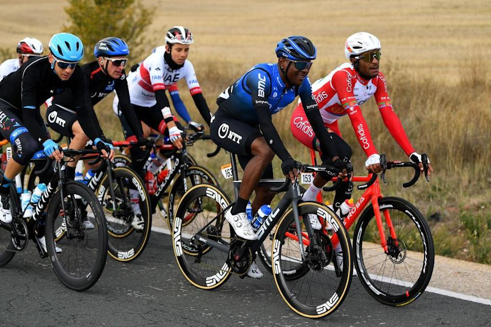 EJEADELOSCABALLEROS SPAIN  OCTOBER 23 Nicholas Dlamini of South Africa and NTT Pro Cycling Team  Natnael Berhane Teweldemedhin of Eritrea and Team Cofidis Solutions Credits  Enrico Gasparotto of Switzerland and NTT Pro Cycling Team  during the 75th Tour of Spain 2020 Stage 4 a 1917km stage from Garray  Numancia to Ejea de los Caballeros  lavuelta  LaVuelta20  La Vuelta  on October 23 2020 in Ejea de los Caballeros Spain Photo by David RamosGetty Images