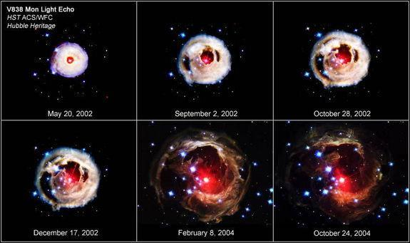 """This image shows the amazing V838 Monocerotis outburst of 2002 in stages. Scientists think it was caused by a """"common-envelope event."""" Image released Jan. 24, 2013."""