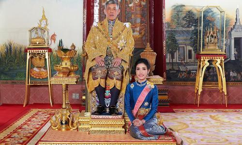 Vajiralongkorn and Sineenat in a photo released by the Thai royal palace in August