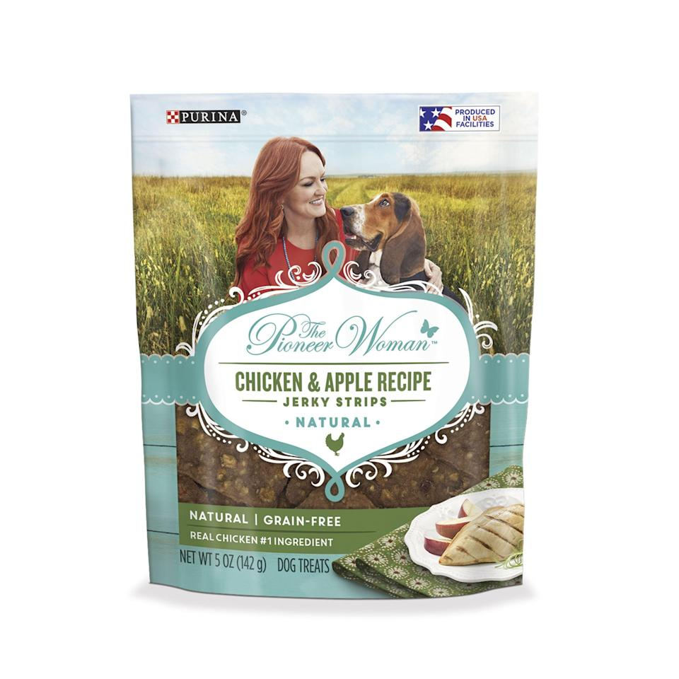 """<h3>All-Natural Treats</h3><p>If we didn't already adore The Pioneer Woman, her recent all-natural dog treat line did the trick — make your pup's day with a pouch of these grain-free Chicken & Apple Recipe Jerky Strips made from real chicken and apples with no artificial colors, flavors, or preservatives.</p><br><br><strong>The Pioneer Woman</strong> Grain Free, Natural Jerky Dog Treats, $5.48, available at <a href=""""https://www.walmart.com/ip/The-Pioneer-Woman-Grain-Free-Natural-Jerky-Dog-Treats-Chicken-Apple-Recipe-Jerky-Strips-5-oz-Pouch/400932738"""" rel=""""nofollow noopener"""" target=""""_blank"""" data-ylk=""""slk:Walmart"""" class=""""link rapid-noclick-resp"""">Walmart</a>"""