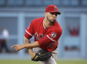 Los Angeles Angels starting pitcher Hector Santiago follows through on a delivery to a Los Angeles Dodgers batter during the first inning of a baseball game Tuesday, Aug. 5, 2014, in Los Angeles. (AP Photo/Jae C. Hong)