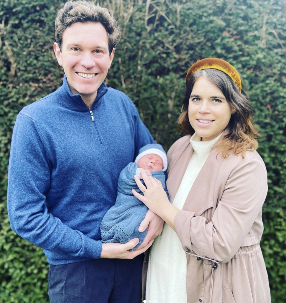 """<p>Eugenie <a href=""""https://people.com/royals/princess-eugenie-shares-story-behind-sons-name-tribute-prince-philip/"""" rel=""""nofollow noopener"""" target=""""_blank"""" data-ylk=""""slk:revealed the meaning behind her son's name"""" class=""""link rapid-noclick-resp"""">revealed the meaning behind her son's name</a> on her Instagram Story, sharing, """"On his grandfather's birthday weekend, thinking of my grandfather [Prince Philip], we are introducing our little boy. He is named after his great grandfather and both of his great x5 grandfathers."""" </p>"""
