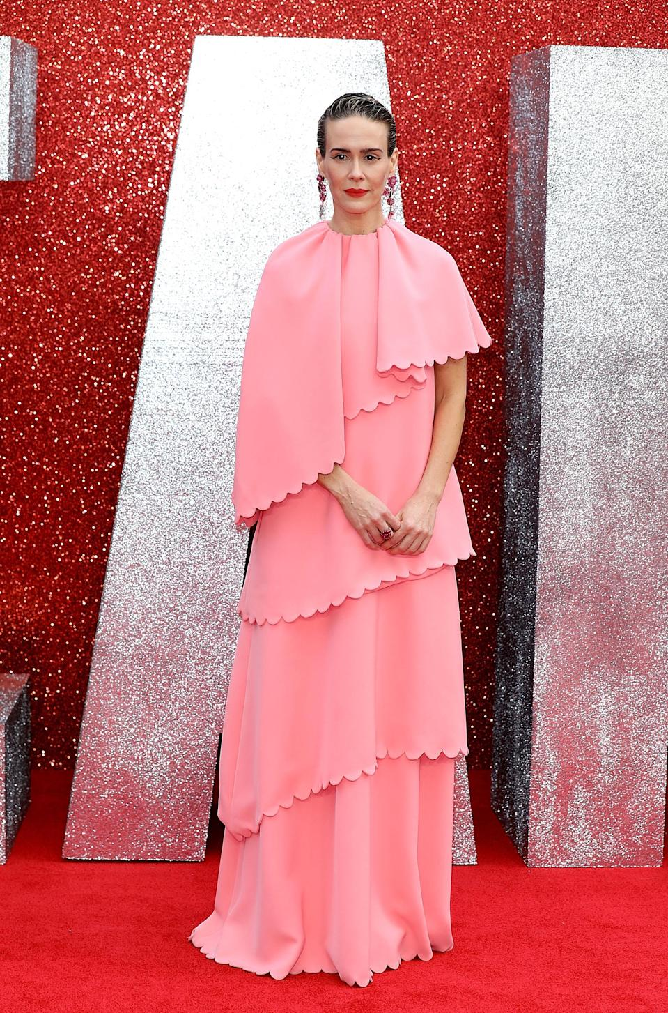 <p>Clad in a layered Valentino dress, Sarah's dress divided opinion. But we love the bold look. <em>[Photo: Getty]</em> </p>