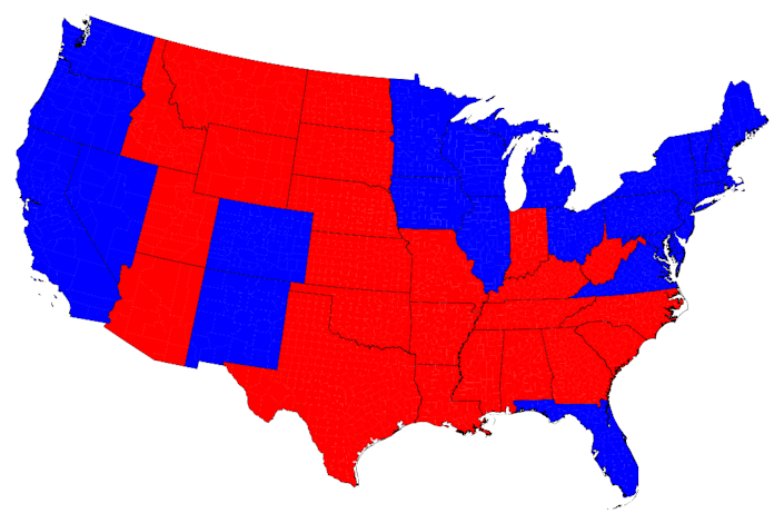 Here's the map most of us saw election night. Red states are for Republican Mitt Romney, and blue for Democratic incumbent Barack Obama. Obama won, even though the country appears mostly red. The blue area is smaller, but it represents the larger population of voters, which is what counts in an election.