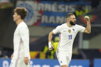 France's Karim Benzema celebrates after scoring during the UEFA Nations League final soccer match between France and Spain at the San Siro stadium, in Milan, Italy, Sunday, Oct. 10, 2021. (AP Photo/Luca Bruno)