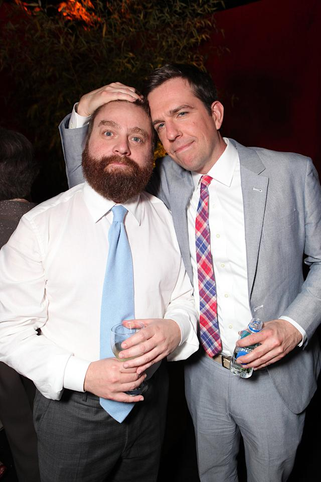 """<a href=""""http://movies.yahoo.com/movie/contributor/1805534781"""">Zach Galifianakis</a> and <a href=""""http://movies.yahoo.com/movie/contributor/1809704692"""">Ed Helms</a> attend the Los Angeles premiere of <a href=""""http://movies.yahoo.com/movie/1810187722/info"""">The Hangover Part II</a> on May 19, 2011."""