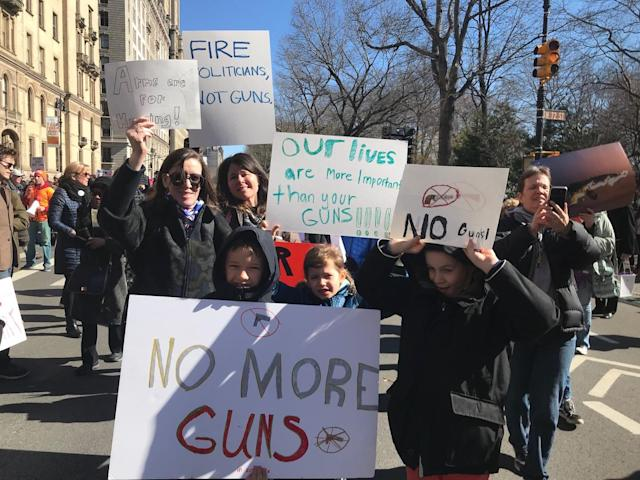 "<p>Signs read ""No More Guns"" in NYC. (Photo: Laura Kenney for Yahoo Lifestyle) </p>"