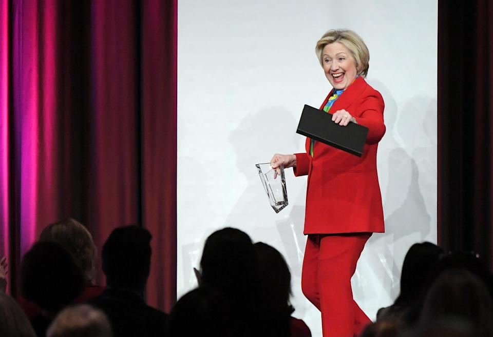 Hillary Clinton wore a red pantsuit to the 2017 Girls Inc. New York luncheon in New York City. (Photo: Getty Images)