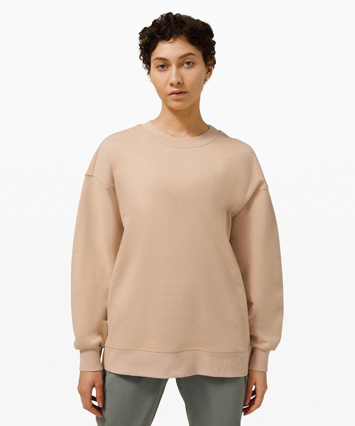 """<h2><a href=""""https://shop.lululemon.com/p/womens-outerwear/Perfectly-Oversized-Crew/_/prod9590058?color=47796https://shop.lululemon.com/p/womens-outerwear/Perfectly-Oversized-Crew/_/prod9590058?color=47796"""" rel=""""nofollow noopener"""" target=""""_blank"""" data-ylk=""""slk:lululemon Perfectly Oversized Crew"""" class=""""link rapid-noclick-resp"""">lululemon Perfectly Oversized Crew<br></a></h2><br>Your mother-in-law will adore taking it easy in this roomy, perfectly oversized sweatshirt — suitable for all sorts of low-maintenance situations. <br><br><strong>Lululemon</strong> Perfectly Oversized Crew, $, available at <a href=""""https://go.skimresources.com/?id=30283X879131&url=https%3A%2F%2Fshop.lululemon.com%2Fp%2Fwomens-outerwear%2FPerfectly-Oversized-Crew%2F_%2Fprod9590058%3Fcolor%3D47796"""" rel=""""nofollow noopener"""" target=""""_blank"""" data-ylk=""""slk:Lululemon"""" class=""""link rapid-noclick-resp"""">Lululemon</a>"""