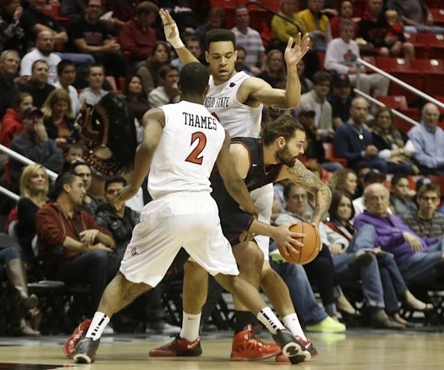 Saint Katherine forward Joshua White, center, is squeezed by San Diego State's Xavier Thames and JJ O'Brien while trying to get the ball across halfcourt during the first half of an NCAA college basketball game on Friday Dec. 27, 2013, in San Diego. (AP Photo/Lenny Ignelzi)