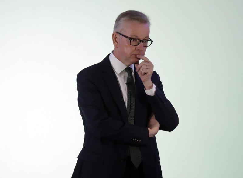 Britain's Environment Secretary Michael Gove launches his leadership campaign for the Conservative Party in London, Monday June 10, 2019. British Prime Minister Theresa May stepped down Friday as Conservative Party leader after failing to secure Parliament's backing for her European Union withdrawal deal. (AP Photo/Matt Dunham)