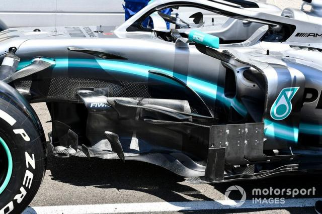 "Bargeboard del Mercedes AMG F1 W10 <span class=""copyright"">Mark Sutton / Sutton Images</span>"