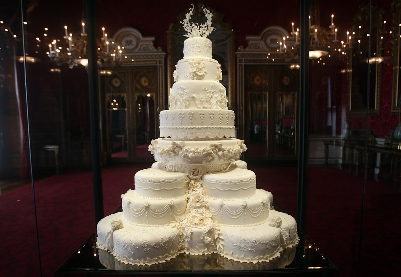 LONDON - JULY 20:   The Duke and Duchess of Cambridge's royal wedding cake is photographed before it goes on display at Buckingham Palace during the annual summer opening on July 20, 2011 in London, England. The cake was featured in the wedding of Catherine, Duchess of Cambridge to Prince William, Duke of Cambridge on April 29. (Photo by Lewis Whyld/WPA Pool/ Getty Images)