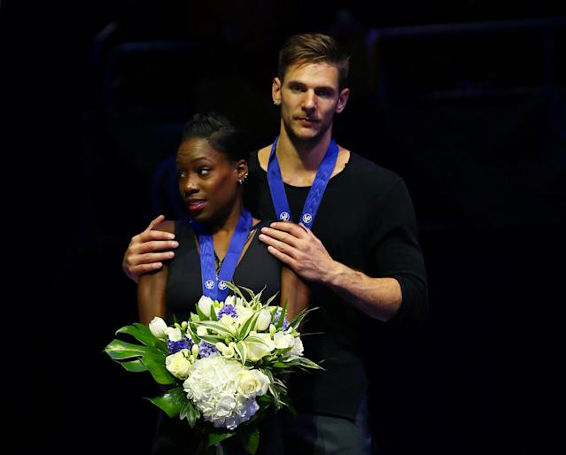 Figure Skating - World Figure Skating Championships - The Mediolanum Forum, Milan, Italy - March 22, 2018 France's Vanessa James and Morgan Cipres stand on the podium after winning the Pairs bronze REUTERS/Alessandro Bianchi