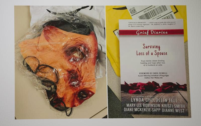 Pig mask and book on grief