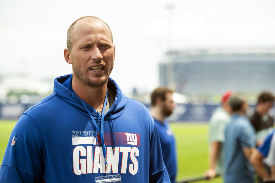 New York Giants offensive tackle Nate Solder speaks to the media at NFL football training camp, Wednesday, July 28, 2021, in East Rutherford, N.J. (AP Photo/Corey Sipkin)
