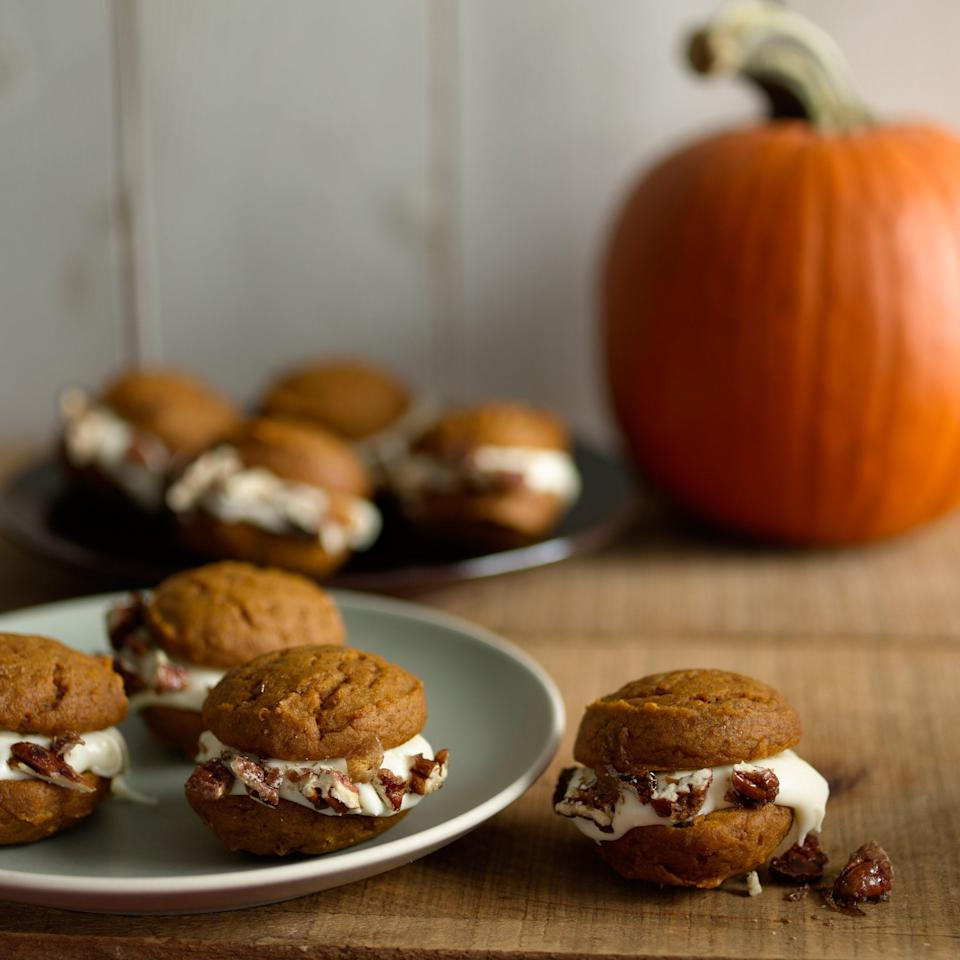 "If you've never made your own whoopie pies, this recipe's for you. The moist pumpkin cake layers are filled with a luscious combination of bourbon and cream cheese. We like to add chopped pecans for a little crunch around the edges. <a href=""https://www.epicurious.com/recipes/food/views/pumpkin-whoopie-pies-369375?mbid=synd_yahoo_rss"" rel=""nofollow noopener"" target=""_blank"" data-ylk=""slk:See recipe."" class=""link rapid-noclick-resp"">See recipe.</a>"